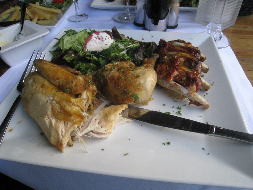 Roast chicken, salad and spare ribs